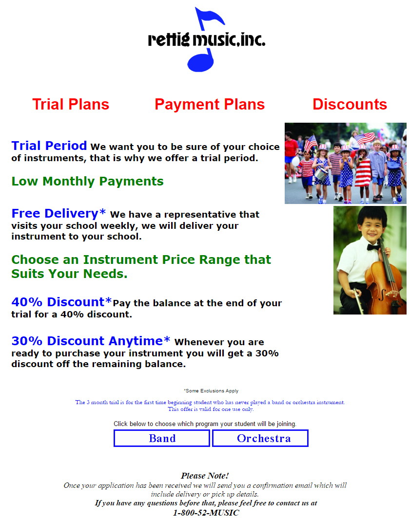 Rent to own instruments
